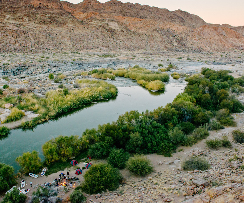 Pangaea Africa expedition, camp along the orange river
